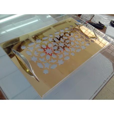 Plateau miroir doré